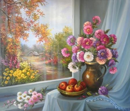 Flori de toamna in fereastra / Bulgaru Anca