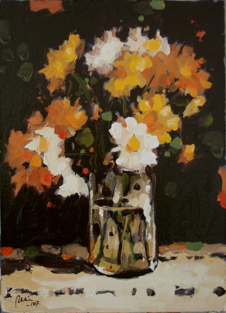 Paharul cu flori,ULEI PE CARTON / Deliu Doru Cristian