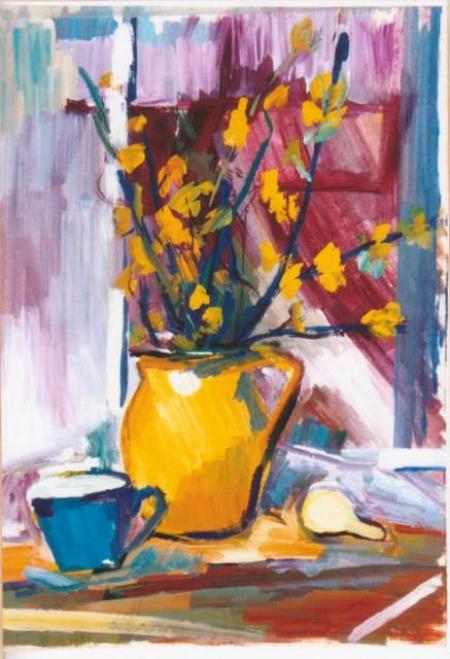 Flori de primavara in vas de lut galben si ceasca albastra / IRIMIA ECATERINA