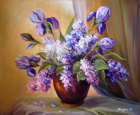 liliac si irisi  violet / Bulgaru Anca