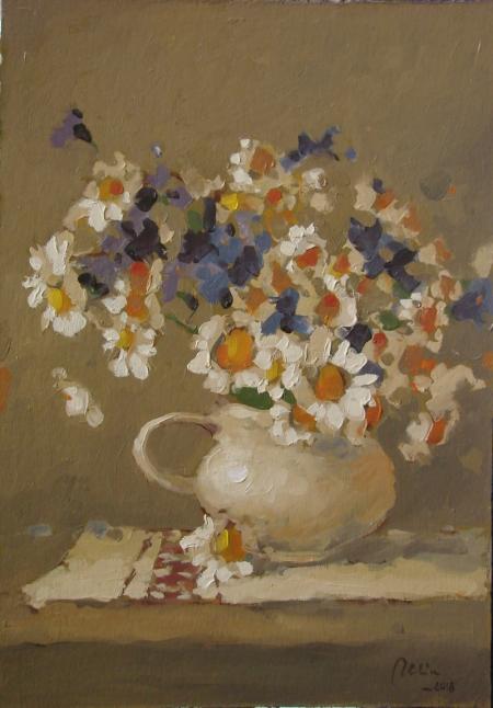 Cana alba cu flori de camp, ulei pe carton / Deliu Doru Cristian
