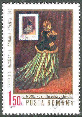 stamp Romania Monet painting