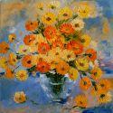 Flori pe fond albastru