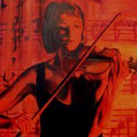 O violonista in rosu si negru