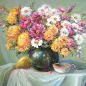 Natura statica cu flori de gradina