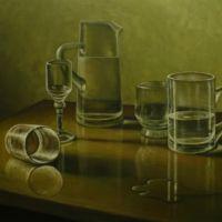 sticla pe masa