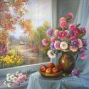 Flori de toamna in fereastra