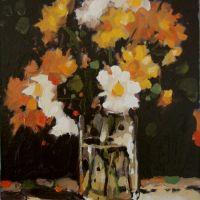 Paharul cu flori,ULEI PE CARTON