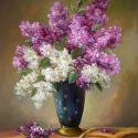 Glastra cu flori de liliac