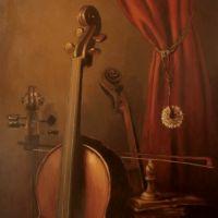 Natura statica cu violoncel