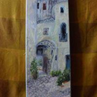Prin vechiul oras-pictura ulei pe panza;MacedonLuiza