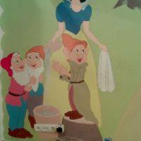 Pictura decorativa camera de copil - Alba-ca-zapada si cei 7 pitici