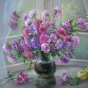Flori la fereastra diminetii