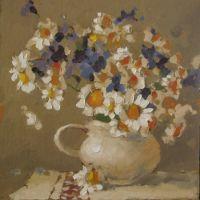 Cana alba cu flori de camp, ulei pe carton