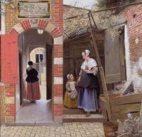 Pieter de Hooch - Curtea unei case din Delft