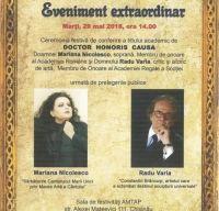 Mariana Nicolesco si Radu Varia au primit  titlul de Doctor Honoris Causa al Academiei de Arte din Chisinau