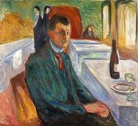 Autoportret cu o sticla de vin de Edvard Munch
